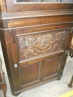 Carved Oak Lead Glazed Corner Cabinet (3 of 3)