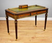 Mahogany & Satinwood Writing Table Stamped Edwards & Roberts