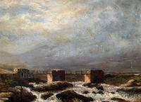 Original 19th Century Period Antique Scottish Highland Bridge Landscape Oil Painting (9 of 11)