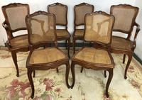 Vintage French Set of 6 Cherrywood Bergère Cane Dining Chairs with Carvers (14 of 14)