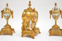 Antique French Porcelain & Gilt Mantel Clock Set (8 of 12)