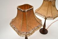 Pair of Antique Walnut Table Lamps with Parchment Shades (5 of 7)