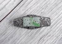 Art Deco Silver and Jadeite Brooch with Marcasites,  1930s (5 of 7)