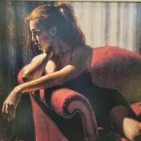 """Fabian Perez Hand Embellished Limited Edition Artists Proof Print """"rojo Sillon III"""" with Certificate of Authenticity (5 of 10)"""