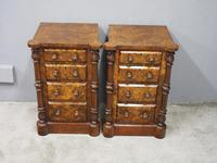 Pair of Victorian Figured Walnut Bedsides (3 of 10)