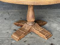French Round Bleached Oak Farmhouse Dining Table (5 of 19)