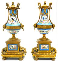 Wonderful Pair of Clock Garnitures Side Urns This Sevres Clock Garnitures (9 of 10)