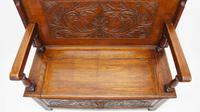 Late Victorian Carved Oak Monks Bench (6 of 16)