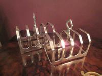 George VI Period Pair of Silver Toast Racks (6 of 6)