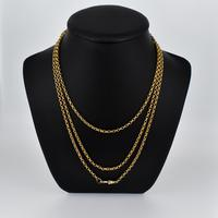 """Antique Victorian Long 18ct Rolled Gold Guard Muff Chain Necklace 54"""" Length (2 of 7)"""