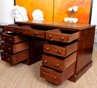 Mahogany Leather Desk 19th Century Victorian Kneehole Twin Pedestal (9 of 14)