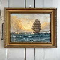 Antique Marine Oil Seascape Painting of Tall Sailing Ship at Sunset by Harry Noyes Lewis (2 of 10)