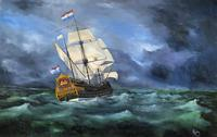 Huge Magnificent 20th Century Vintage Seascape Oil Painting - Battleship in Rough Sea (2 of 12)