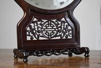 Chinese Hardwood Mirror Stand with Circular Bevelled Mirror (5 of 10)