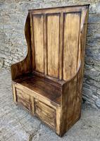 Antique Pine Panelled Box Settle (2 of 16)