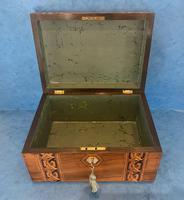 Victorian Walnut Jewellery Box with Tunbridge Ware Inlaid Bands (10 of 11)
