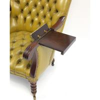 Regency Style Mahogany Library Chair with Mustard Leather Button Back (5 of 6)