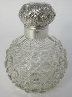 Victorian Silver & Cut Glass Perfume Bottle with Floral & Scroll Lid