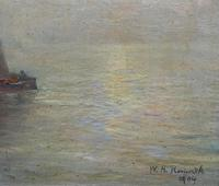 W. H. Renwick Small Edwardian Moonlit Sailing Seascape Oil Painting (9 of 11)