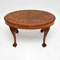 Antique Burr Walnut Oval Coffee Table (2 of 8)