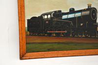 Antique Victorian Oil Painting Steam Locomotive Train (4 of 11)