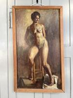 Antique Nude Oil Painting Portrait of Seated Figure by Alys Woodman RBSA (2 of 10)