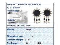 1.40ct Diamond & Onyx, 14ct Yellow Gold Drop Earrings - Art Deco Style - Vintage c.1950 (8 of 9)