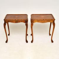 Pair of Antique Queen Anne Style Burr Walnut Side Tables (2 of 8)