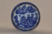 Worcester Porcelain Coffee Cup & Saucer 'Bandstand' Pattern 1780-1790 (2 of 8)