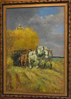 Oil Painting of Working Horses & Farmers (3 of 8)
