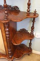 Antique Victorian Burr Walnut Display Whatnot Side Cabinet (5 of 13)