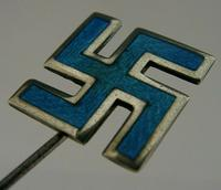 English Novelty Solid Sterling Silver Enamel Good Luck Hat Pin 1910 Antique (2 of 6)