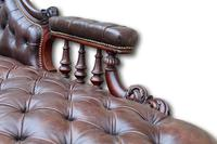 Victorian Mahogany Chaise Lounge with Button Leather Upholstery (6 of 7)