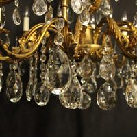 Italian Gilded & Crystal 12 Light Antique Chandelier (5 of 9)