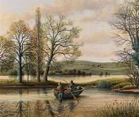 Fishing The River Ouse - Lovely Vintage North Yorkshire Riverscape Oil Painting (3 of 12)