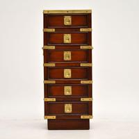 Antique Military Campaign Style Mahogany Miniature Chest of Drawers (10 of 12)