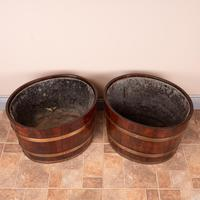 Pair Of Large Oval Oak Brass Bound Log Buckets (20 of 21)
