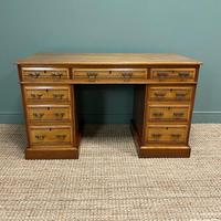 Victorian Walnut Antique Pedestal Desk