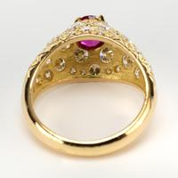 Vintage French Ruby & Diamond Dress Ring c.1960 (2 of 6)