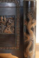 Chinese relief carved camphorwood coffer with an ebonised finish (13 of 23)