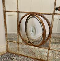 Large 19th Century Industrial Window Mirror with Central Leaded Bottle Glass Opening (4 of 8)