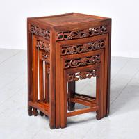 Nest of 3 Chinese Qing Dynasty Rosewood & Burr Wood Tables