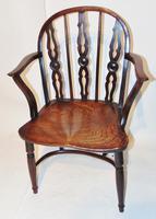 Georgian Yew-wood Windsor Elbow Chair