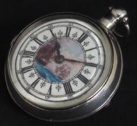Antique Silver Pair Case Pocket Watch Fusee Verge Escapement Key Wind Galleon Ships Painting (2 of 5)