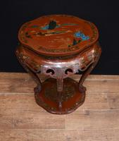 Chinese Pedestal Stand Table in Cinnabar Lacquer Chinoiserie (14 of 26)