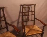 Pair of 19th Century Spindle Back Armchairs with Rush Seats (3 of 6)