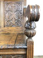 Victorian Carved Oak Settle or Hall Bench (15 of 16)