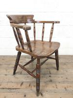 Antique Ash and Elm Smoker's Bow Chair (m-2303) (7 of 10)