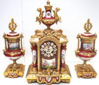 Incredible French Sevres Mantel Clock French Striking 8-day Garniture Clock Set (2 of 19)