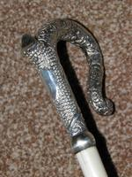 Antique Hallmarked 1887 Repousse Silver Petite Dress Cane With Vacant Cartouche (2 of 10)